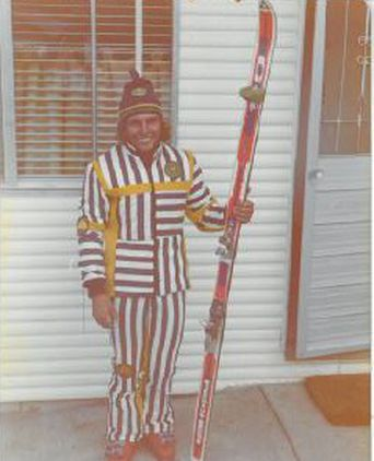 Garry Holt in the Prue Acton Ski Suit, November 1975