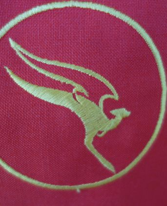 Qantas logo on left breast pocket, Stewart Baker uniform