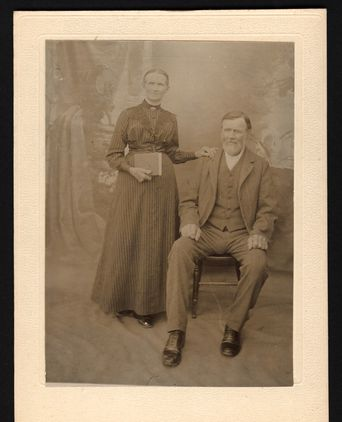 Portrait of Amelia Elizabeth Wong nee Hackney(left) and man thought to be one of her brothers