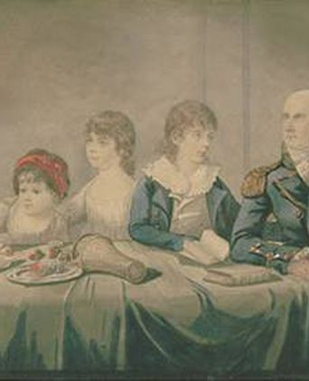 Philip & Anna Gidley King & family, 1799, by Robert Dighton, watercolour, ML 1244  State Library of NSW