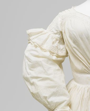 Dress (sleeve detail), womens, cotton, probably made in Australia and worn by Julia Johnston, Horsley, New South Wales, Australia, 1836-1840