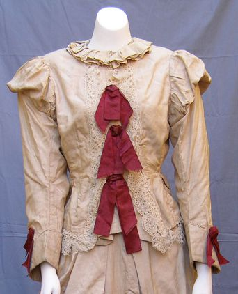 Ladies beige silk two piece ensemble c.1880's