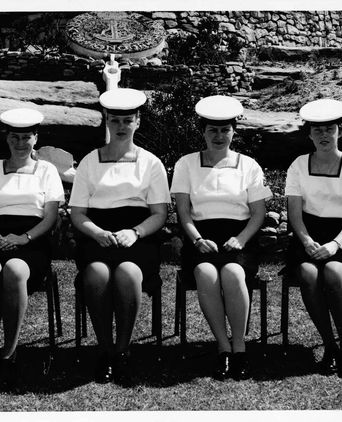 Silver gelatin print of White and friends, reproduced courtesy of the Royal Australian Navy