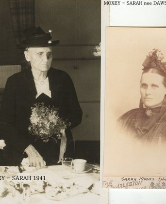 Sarah Moxey Nee Dawson as a young woman & later in life