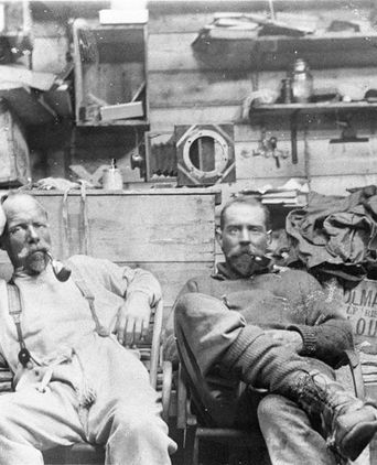 "John Robert Francis Wild & Morton Henry Moyes in ""The Grottoes"", ca 1911, Shackleton Ice Shelf (Antarctica), quarter plate photonegative, State Library of NSW"