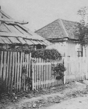 Childhood home of Charles Sharam. Parents, Christopher and Ellen and children in Petticoat Lane, Penola, 1853.