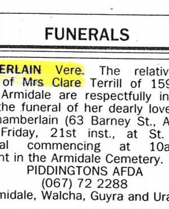 Funeral notice from the Armidale Express from 21.7.89