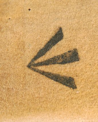 Broad arrow stamp detail. Photographed 03/09/2013, Deb Wise
