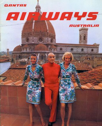 Emio Pucci on terrace of Palazzo Pucci, Florence, promoting the Qantas uniform, 1974.