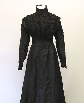 Black silk dress by Finney Isles, c1890