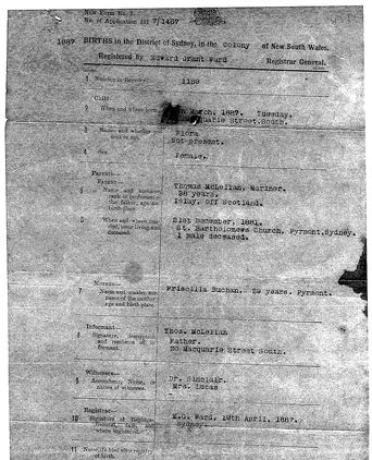 Birth Certificate of Flora McLellan, detailing birth and marriage details of Priscilla and Thomas McLellan