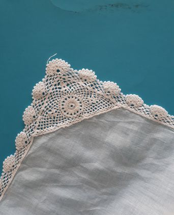 Linen handkerchief with crocheted edges