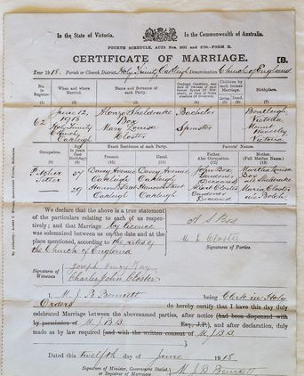 Marriage Certificate, Alonzo & Mary Box 12/6/1918