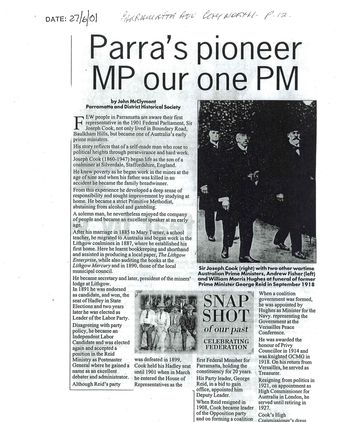 Newspaper Article - 'Parra's Pioneer MP Our One PM'