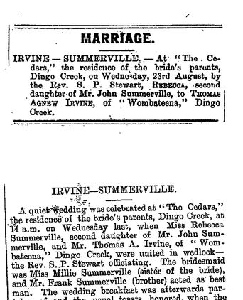 Newspaper accounts of the wedding from the Manning River Times and Wingham Chronicle.