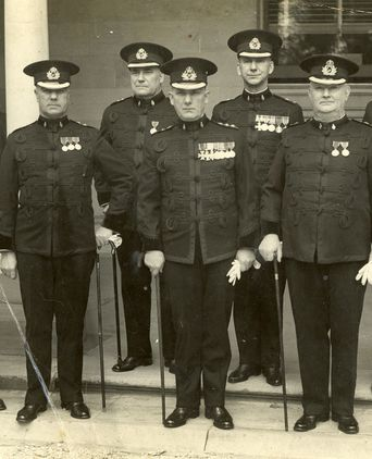 PM3113 Group of Queensland Commissioned Police officers in 1937. Commissioner Cecil James Carroll is fourth from left.