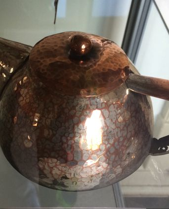 Beaten copper teapot made by Dorothy Leviny