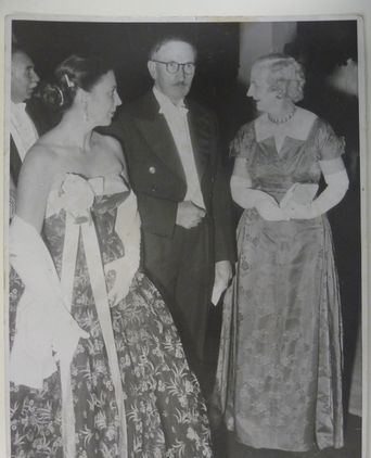 Dawn Waterhouse wearing the dress to Parliament House Ball, in Honour of the Royal Visit (1954)