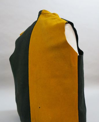 Parti-coloured waistcoat back, showing armhole. Photographed 24/09/2013, Deb Wise