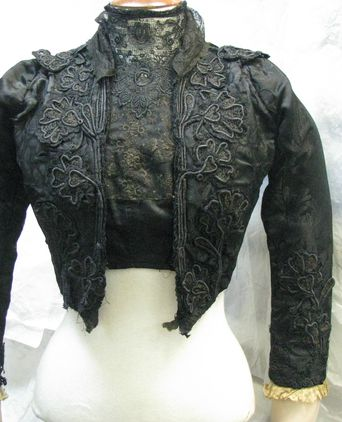 Front view of bodice and bolero jacket over-bodice