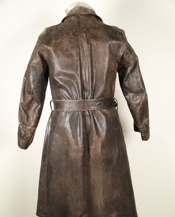 Leather trench coat back view