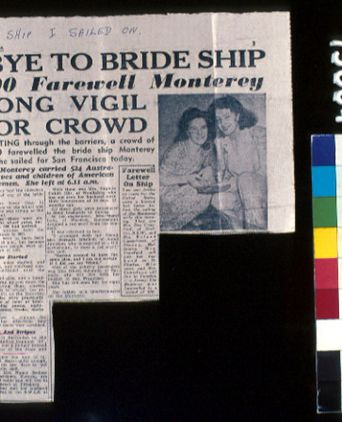 'Goodbye to Bride Ship' newspaper clipping