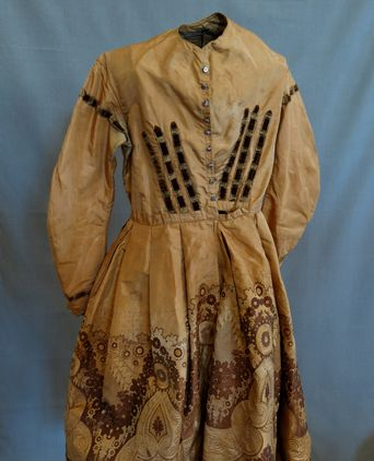 Topaz Silk Brocade Dress, wire mannquin