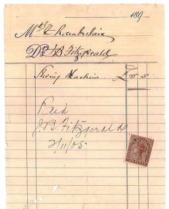Receipt for sewing machine possibly used to manufacture the garment