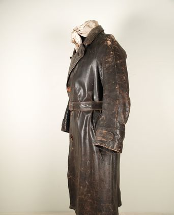 Leather coat side view