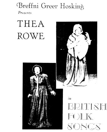 Programme from performance by Thea Rowe at Albert Hall, Brisbrane, 1948. Photograph shows her wearing the costume