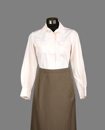 Front view of blouse and skirt.