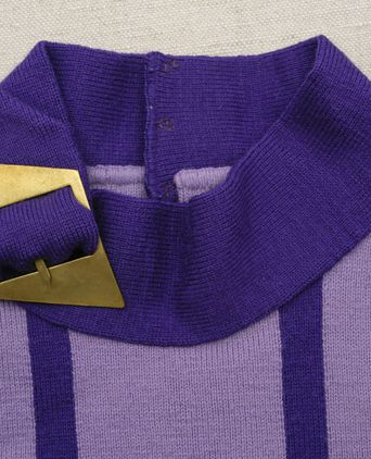 Close up of purple jumper's stand collar