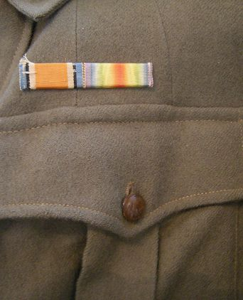 Left breast pocket and ribbons