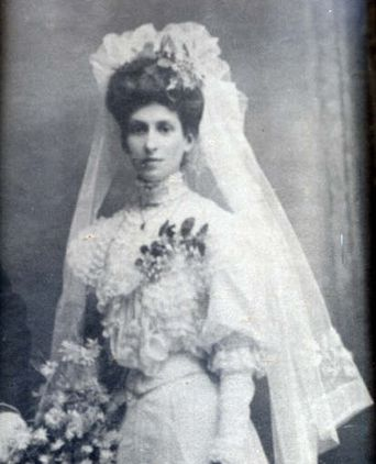 Alice Cooper in her wedding dress