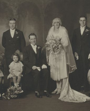 Bridal party photo for wedding of Percival and Gertrude