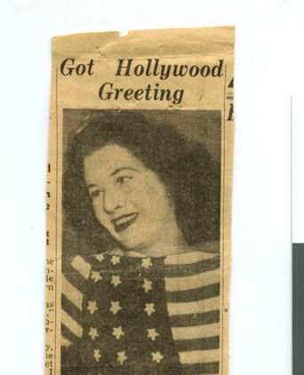 'Got Hollywood Greeting' newspaper clipping