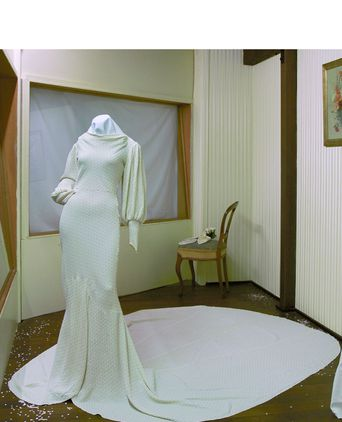 Win Howell's wedding dress on exhibition in For Better or Worse August 2005 at the Port Macquarie Historical Museum