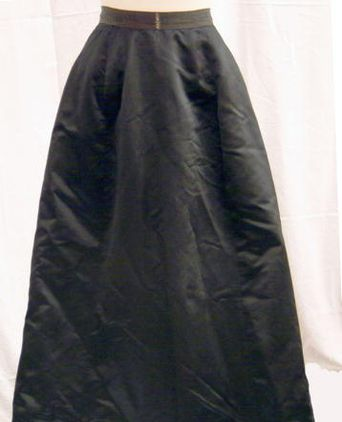Black satin evening skirt