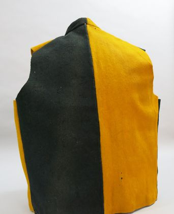 Parti-coloured waistcoat back. Photographed 24/09/2013, Deb Wise