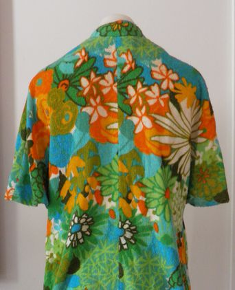 Floral terry towelling beach jacket back view